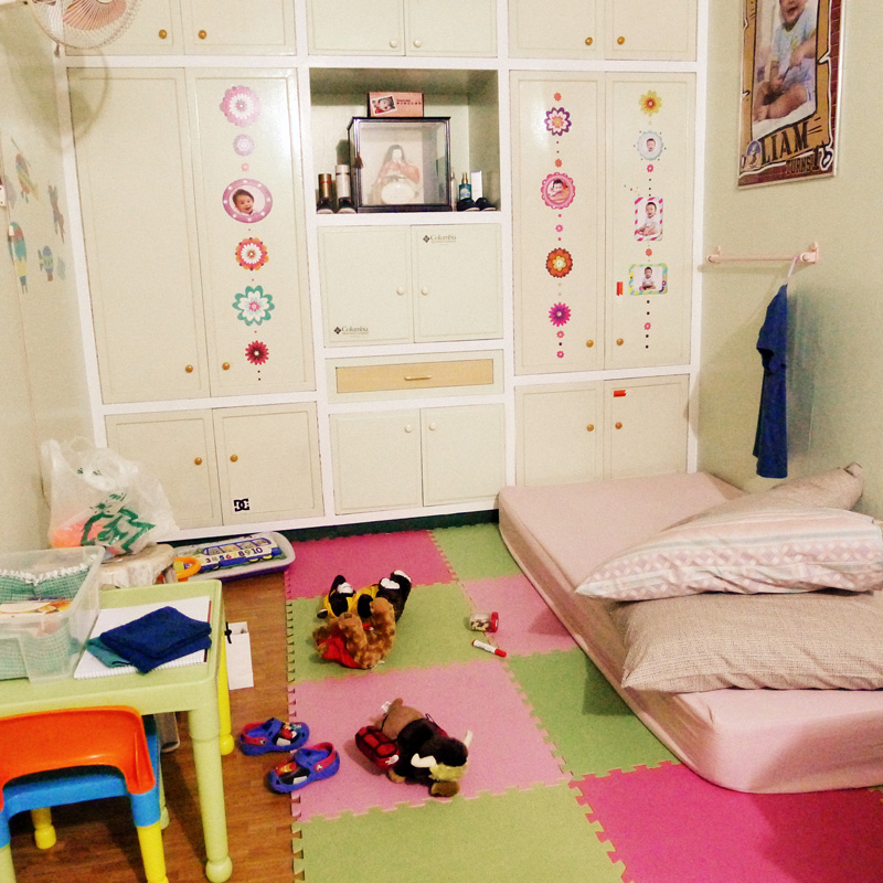"""Can't believe that this was once my room!  Sorry there's lot of """"pink"""" for a boy's room.  The sticker decals were mine and my parents didn't remove them anymore when I moved out hehe."""